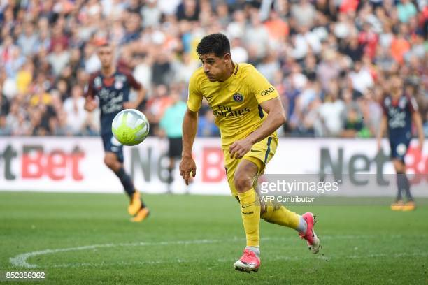 Paris SaintGermain's Spanish defender Yuri Berchiche controls the ball during the French Ligue 1 football match between Paris SaintGermain and...
