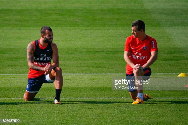 Paris SaintGermain's spanish forward Jese and ItalianArgentine midfielder Giovani Lo Celso take part in a training session at the Oredoo training...