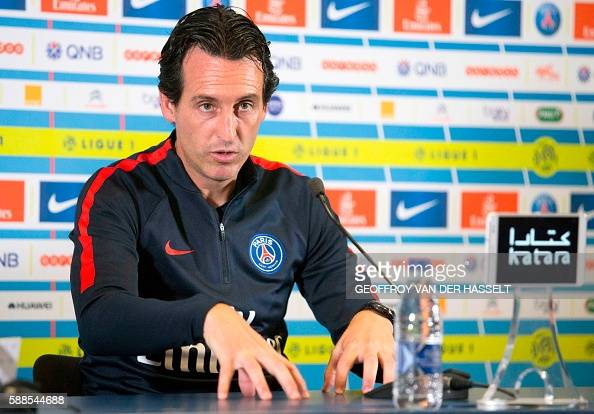 Paris SaintGermain's Spanish head coach Unai Emery addresses a press conference at the Camp des Loges training centre in SaintGermainenLaye west of...