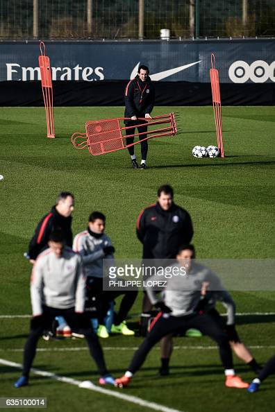 Paris SaintGermain's Spanish head coach Unai Emery attends a training session on February 13 2017 in SaintGermainenLaye west of Paris on the eve of...
