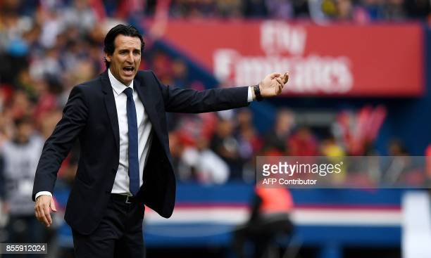 Paris SaintGermain's Spanish head coach Unai Emery gestures as he shouts instructions during the French L1 football match Paris SaintGermain vs...