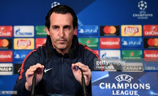 Paris SaintGermain's Spanish head coach Unai Emery gives a press conference at the Parc des Princes stadium in Paris on November 21 on the eve of the...