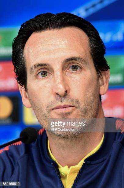 Paris SaintGermain's Spanish head coach Unai Emery gives a press conference in Brussels on October 17 on the eve of the UEFA Champions League Group B...