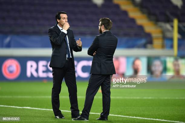 Paris SaintGermain's Spanish head coach Unai Emery is seen ahead of the UEFA Champions League Group B football match between RSC Anderlecht and Paris...