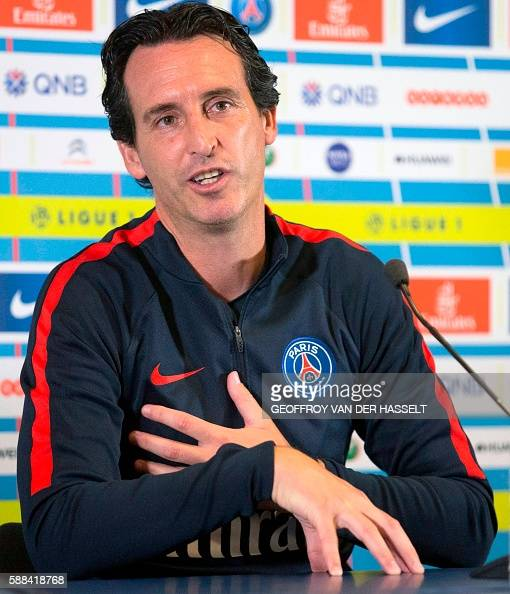 Paris SaintGermain's Spanish headcoach Unai Emery addresses a press conference at the Camp des Loges training centre in SaintGermainenLaye west of...