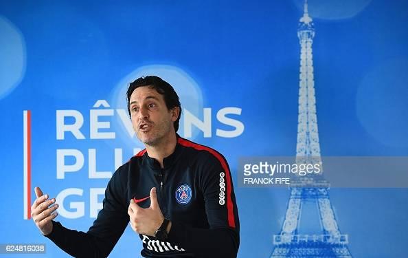Paris SaintGermain's Spanish headcoach Unai Emery answers journalists' questions on November 17 2016 in SaintGermainenLaye west of Paris two days...