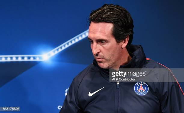 Paris SaintGermain's Spanish headcoach Unai Emery arrives for a press conference at the Parc des Princes stadium in Paris on October 30 2017 on the...