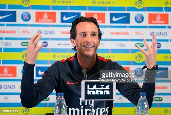 Paris SaintGermain's Spanish headcoach Unai Emery gestures as he addresses a press conference at the Camp des Loges training centre in...