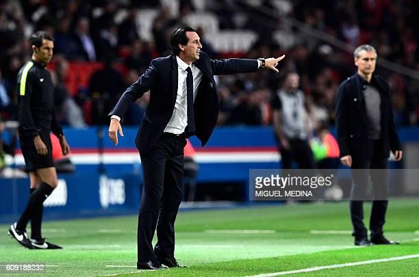 Paris SaintGermain's Spanish headcoach Unai Emery reacts during the French L1 football match between Paris SaintGermain and Dijon at the Parc des...