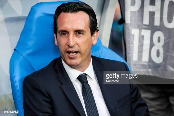 Paris SaintGermain's Spanish headcoach Unai Emery smiles during the French Cup final football match between Paris SaintGermain and Angers on May 27...