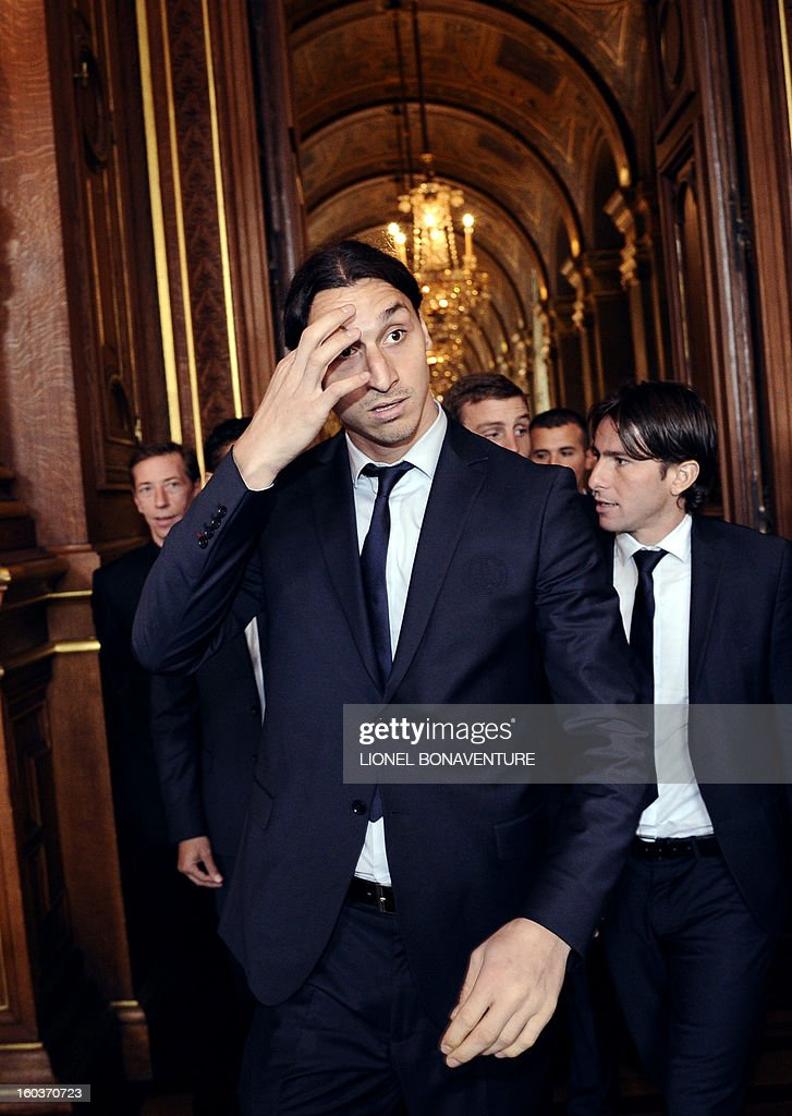Paris Saint-Germain's Swedish forward Zlatan Ibrahimovic arrives to attend the annual lunch of the Paris-Saint-Germain's French L1 football club (PSG) team at the Paris city hall, on January 30, 2013.
