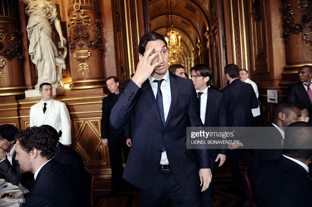 Paris Saint-Germain's Swedish forward Zlatan Ibrahimovic arrives to attend the annual lunch of the Paris-Saint-Germain's French L1 football club (PSG) team at the Paris city hall, on January 30, 2013. AFP PHOTO / LIONEL BONAVENTURE