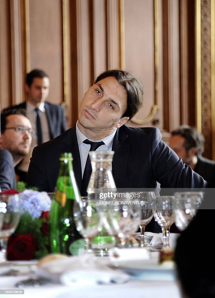 Paris Saint-Germain's Swedish forward Zlatan Ibrahimovic attends the annual lunch of the Paris-Saint-Germain's French L1 football club (PSG) team at the Paris city hall, on January 30, 2013. AFP PHOTO / LIONEL BONAVENTURE