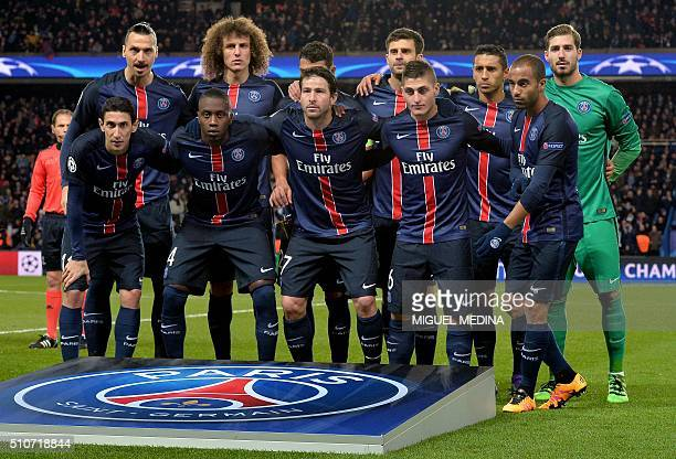 Paris SaintGermain's Swedish forward Zlatan Ibrahimovic Brazilian defender David Luiz Brazilian defender Thiago Silva Italian midfielder Thiago Motta...