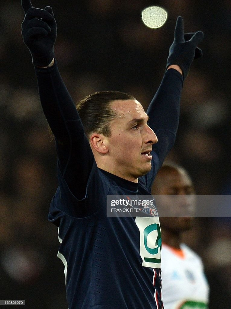 Paris Saint-Germain's Swedish forward Zlatan Ibrahimovic celebrates after scoring a goal during the French Cup football match Paris Saint-Germain vs Marseille on February 27, 2013 at the Parc des Princes stadium in Paris.