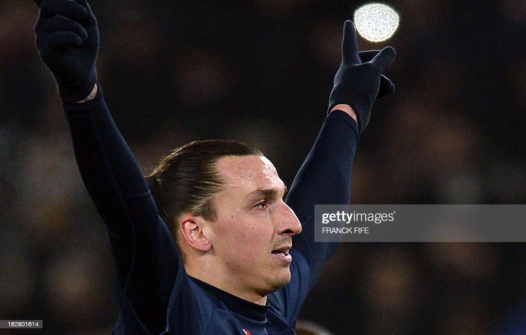 Paris Saint-Germain's Swedish forward Zlatan Ibrahimovic celebrates after scoring a goal during the French Cup football match Paris Saint-Germain vs Marseille on February 27, 2013 at the Parc des Princes stadium in Paris.