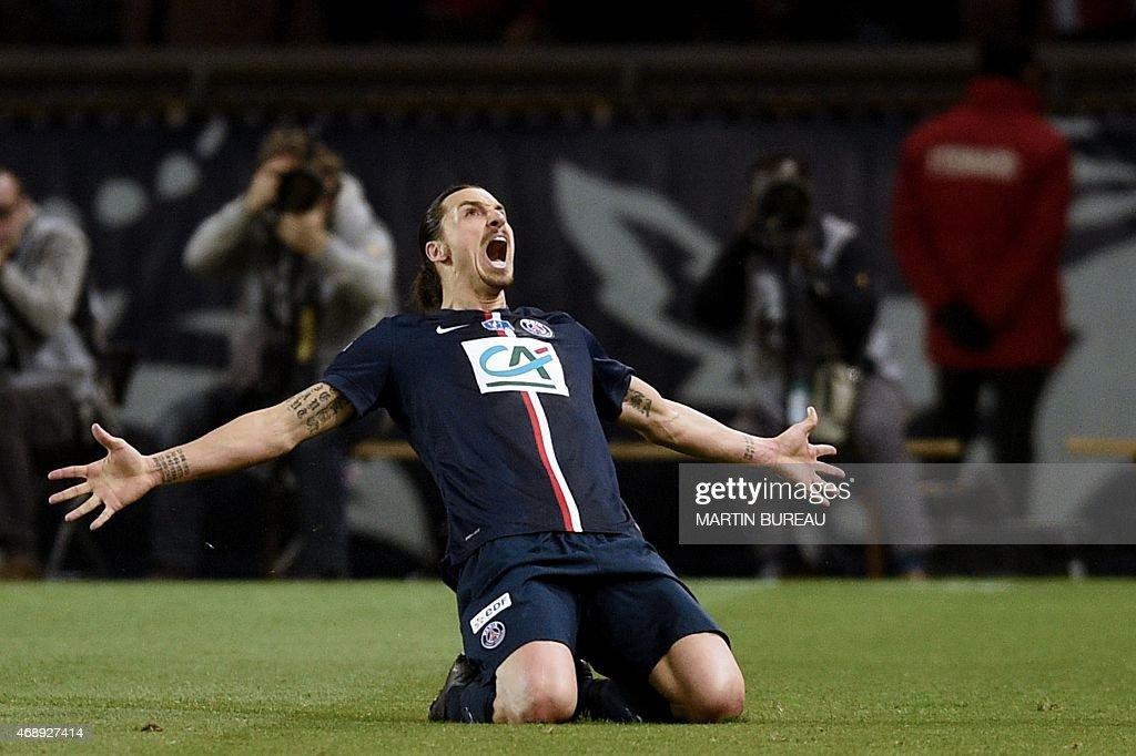 Paris SaintGermain's Swedish forward Zlatan Ibrahimovic celebrates after scoring a goal during the French Cup semifinal football match Paris...