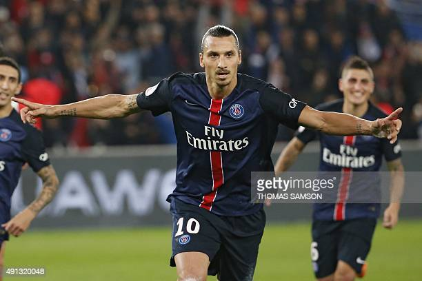 Paris SaintGermain's Swedish forward Zlatan Ibrahimovic celebrates after scoring a penatly during the French L1 football match Paris SaintGermain vs...