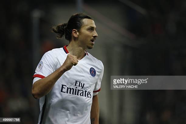 Paris SaintGermain's Swedish forward Zlatan Ibrahimovic celebrates after scoring a goal during the French L1 football match Nice vs Paris...