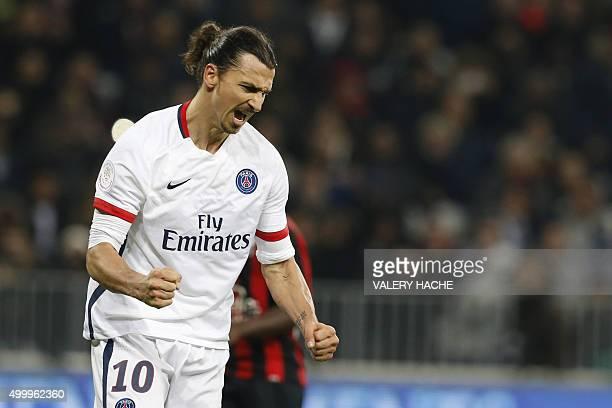Paris SaintGermain's Swedish forward Zlatan Ibrahimovic celebrates after scoring a penalty during the French L1 football match Nice vs Paris...
