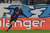 Paris SaintGermain's Swedish forward Zlatan Ibrahimovic celebrates after scoring a goal during the French L1 football match between Marseille and...