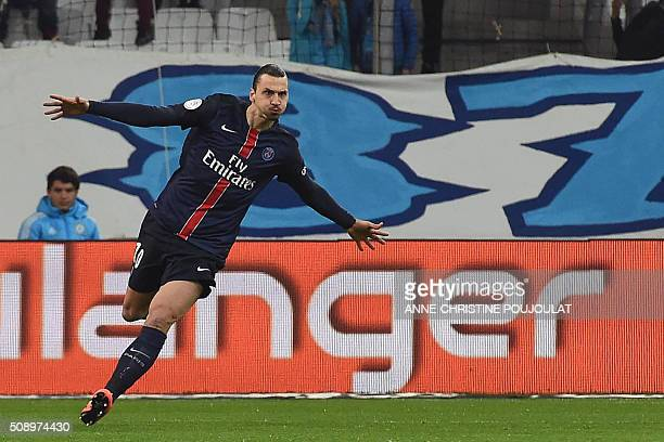 Paris SaintGermain's Swedish forward Zlatan Ibrahimovic celebrates after scoring a goal during the French L1 football match between Marseille and...