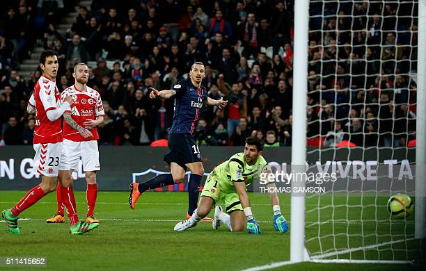 Paris SaintGermain's Swedish forward Zlatan Ibrahimovic celebrates after scoring a goal during the French L1 football match between Paris...