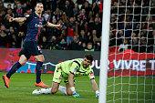 Paris SaintGermain's Swedish forward Zlatan Ibrahimovic celebrates after scoring a goal during the French L1 football match between Paris...