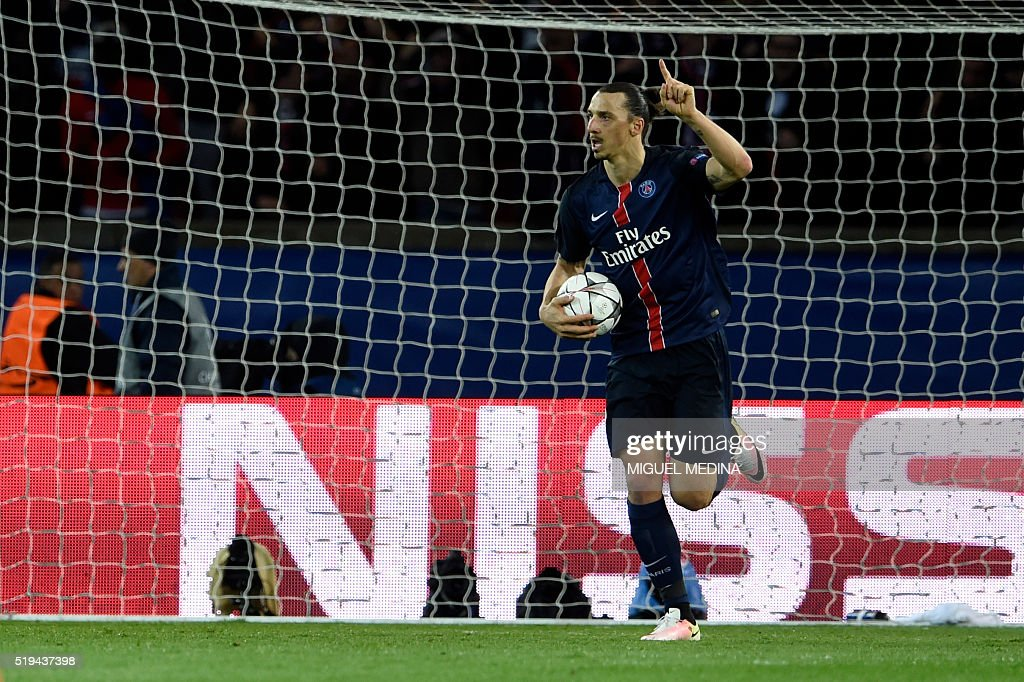 Paris SaintGermain's Swedish forward Zlatan Ibrahimovic celebrates after scoring a goal during the UEFA Champions League quarter final football match...