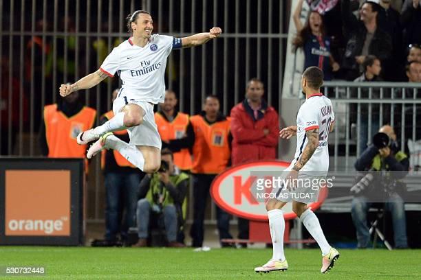 Paris SaintGermain's Swedish forward Zlatan Ibrahimovic celebrates after scoring a goal during the French L1 football match between Bordeaux and...