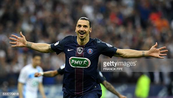 TOPSHOT Paris SaintGermain's Swedish forward Zlatan Ibrahimovic celebrates after scoring a goal during the French Cup final football match beween...