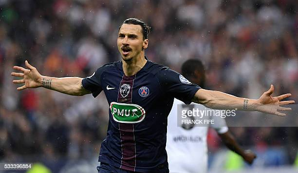 Paris SaintGermain's Swedish forward Zlatan Ibrahimovic celebrates after scoring a goal during the French Cup final football match beween Marseille...
