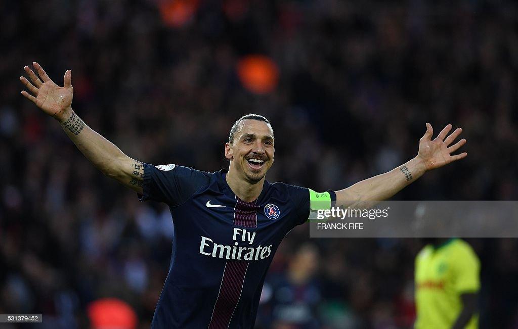 TOPSHOT Paris SaintGermain's Swedish forward Zlatan Ibrahimovic celebrates his goal during the French L1 football match between Paris SaintGermain...