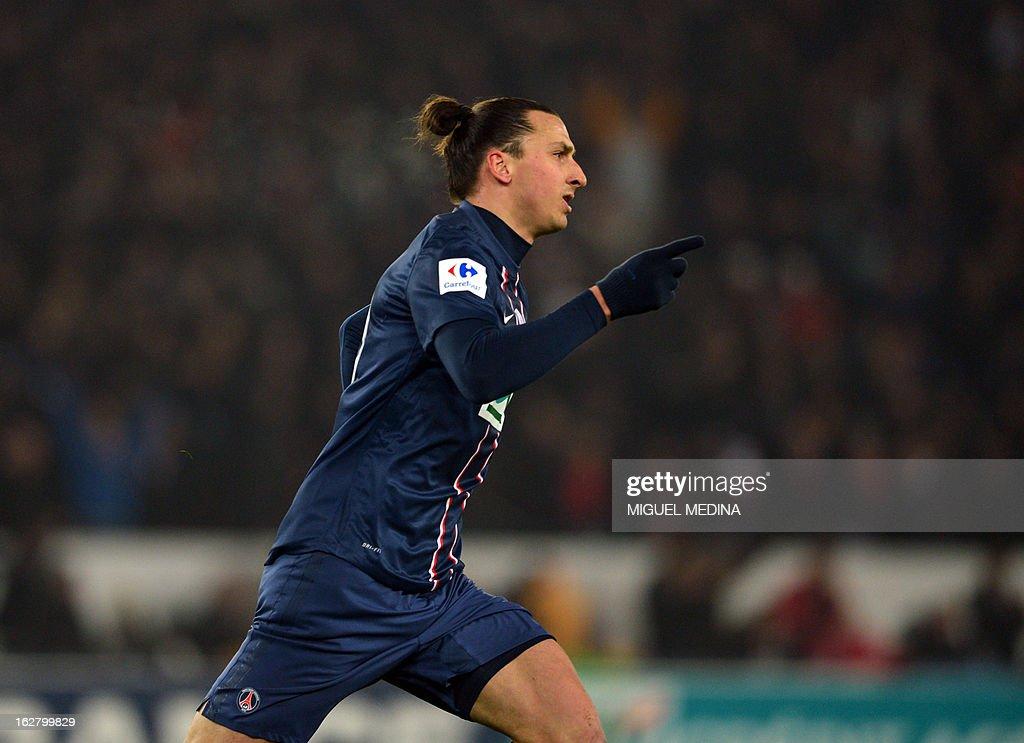 Paris Saint-Germain's Swedish forward Zlatan Ibrahimovic celebrates after scoring during the French Cup football match between Paris Saint Germain (PSG) vs Olympique de Marseille (OM) on February 27, 2013 at the Parc-des-Princes stadium in Paris.