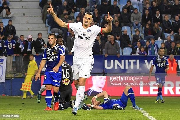 Paris SaintGermain's Swedish forward Zlatan Ibrahimovic celebrates after scoring during the L1 football match Bastia against Paris on October 17 at...