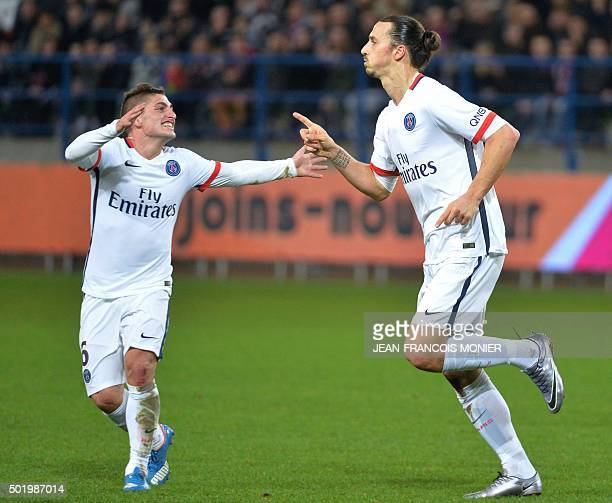 Paris SaintGermain's Swedish forward Zlatan Ibrahimovic celebrates with Paris SaintGermain's Italian midfielder Marco Verratti after scoring a goal...
