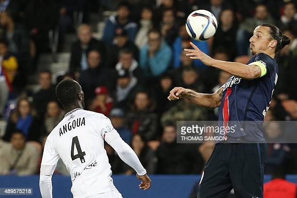 Paris SaintGermain's Swedish forward Zlatan Ibrahimovic control the ball during the French L1 football match between Paris SaintGermain and EA...