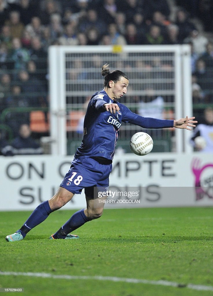 Paris Saint-Germain's Swedish forward Zlatan Ibrahimovic controls the ball during the French League Cup football match between Saint Etienne and Paris, on November 27, 2012, at the Geoffroy Guichard stadium in Saint-Etienne.