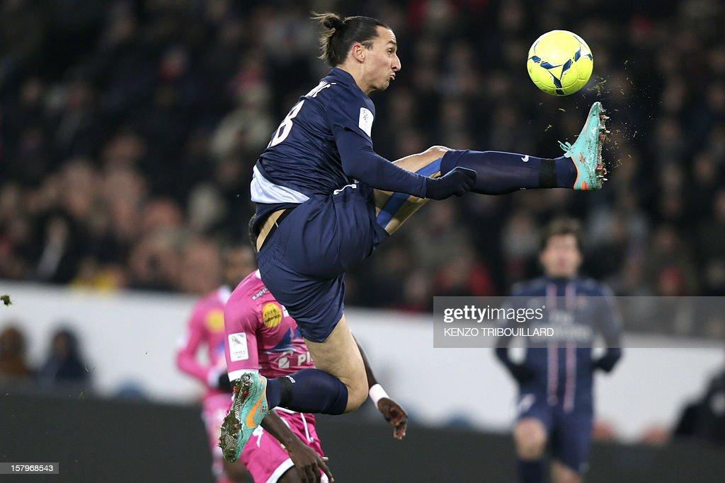 Paris Saint-Germain's Swedish forward Zlatan Ibrahimovic controls the ball during the French L1 football match Paris Saint-Germain (PSG) vs Evian Thonon Gaillard (ETGFC) on December 8, 2012 at the Parc des Princes stadium, in Paris.