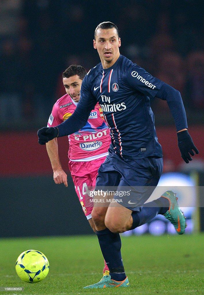 Paris Saint-Germain's Swedish forward Zlatan Ibrahimovic controls the ball during the French Ligue 1 football match Paris Saint-Germain (PSG) vs Evian Thonon Gaillard (ETGFC) on December 8, 2012 at the Parc des Princes stadium in Paris. Paris won 4-0.