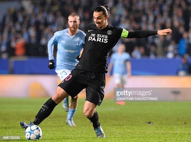 Paris SaintGermain`s Swedish forward Zlatan Ibrahimovic controls the ball during the UEFA Champions League Group A secondleg football match Malmo FF...