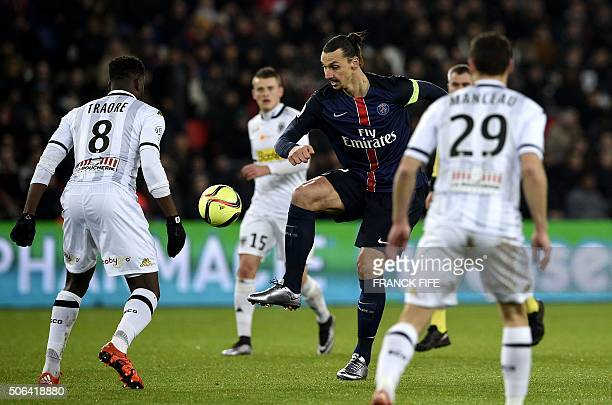 Paris SaintGermain's Swedish forward Zlatan Ibrahimovic controls the ball during the French L1 football match between Paris SaintGermain and Angers...