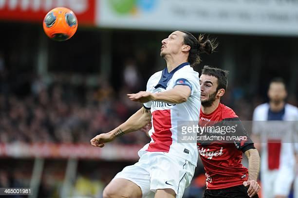 Paris SaintGermain's Swedish forward Zlatan Ibrahimovic eyes the ball during the French L1 football match between Guingamp and Paris SaintGermain on...