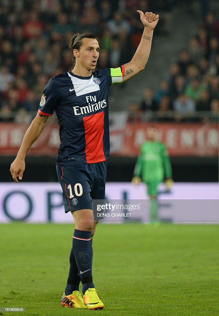 Paris Saint-Germain's Swedish forward <a gi-track='captionPersonalityLinkClicked' href=/galleries/search?phrase=Zlatan+Ibrahimovic&family=editorial&specificpeople=206139 ng-click='$event.stopPropagation()'>Zlatan Ibrahimovic</a> gestures during a French L1 football match between Valenciennes and Paris Saint-Germain on September 25, 2013 at the Stade du Hainaut in Valenciennes, northern France.