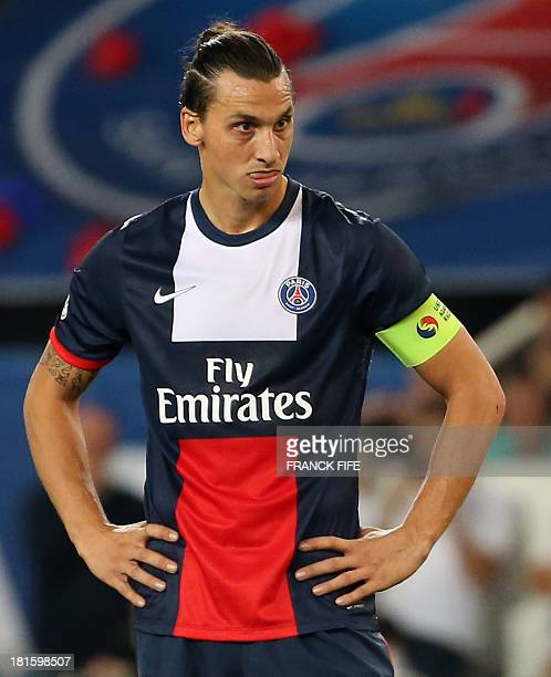 Paris SaintGermain's Swedish forward Zlatan Ibrahimovic grimaces during the French L1 football match between Paris SaintGermain and AS Monaco at the...