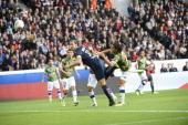 Paris SaintGermain's Swedish forward Zlatan Ibrahimovic kicks the ball to score during the French L1 football match Paris Saint Germain against...
