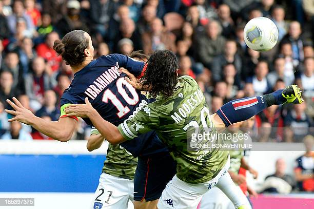 Paris SaintGermain's Swedish forward Zlatan Ibrahimovic kicks the ball to score during the French L1 football match Paris Saint Germain against...