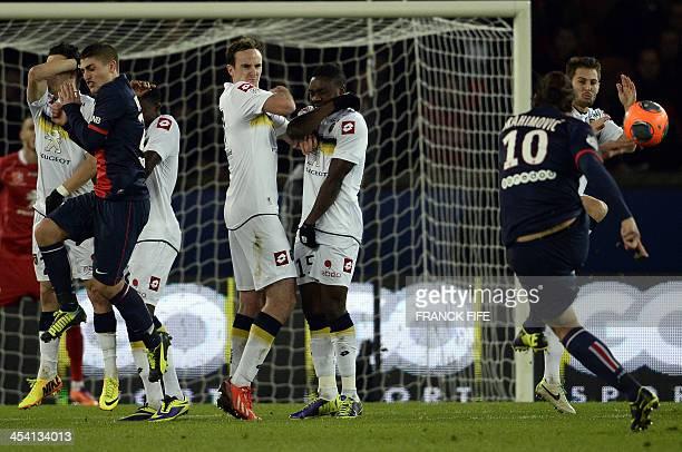 Paris SaintGermain's Swedish forward Zlatan Ibrahimovic kicks the ball during the French L1 football match between Paris SaintGermain and Sochaux at...