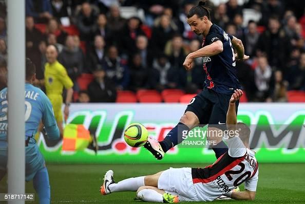 Paris SaintGermain's Swedish forward Zlatan Ibrahimovic kicks the ball to score during the French L1 football match between Paris SaintGermain and...