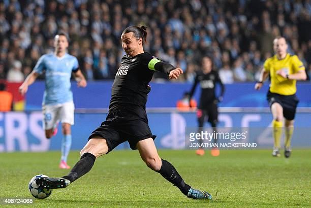 Paris SaintGermain's Swedish forward Zlatan Ibrahimovic plays the ball during the UEFA Champions League Group A secondleg football match Malmo FF vs...